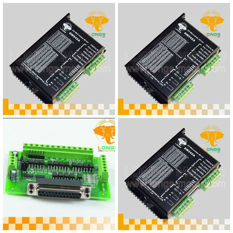 Stepper motor driver 3 Axis <font><b>DM542A</b></font> 4.2A 128 micsteps 18-50v for Nema 23 Stepper motor CNC Router Machine LONGS MOTOR image