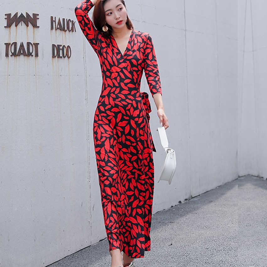 Sunmmer Повседневное платье женская одежда 2019 мода полосатый принт три четверти рукав с высокой талией в стиле бохо Длинные Макси платья уличная