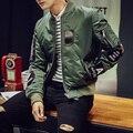 2016 Высокая мода мужская мотоцикл Летную Куртку Пилота Ввс Армии Зеленый/Черный Бомбардировщик Куртки пальто Высокого Качества плюс размер
