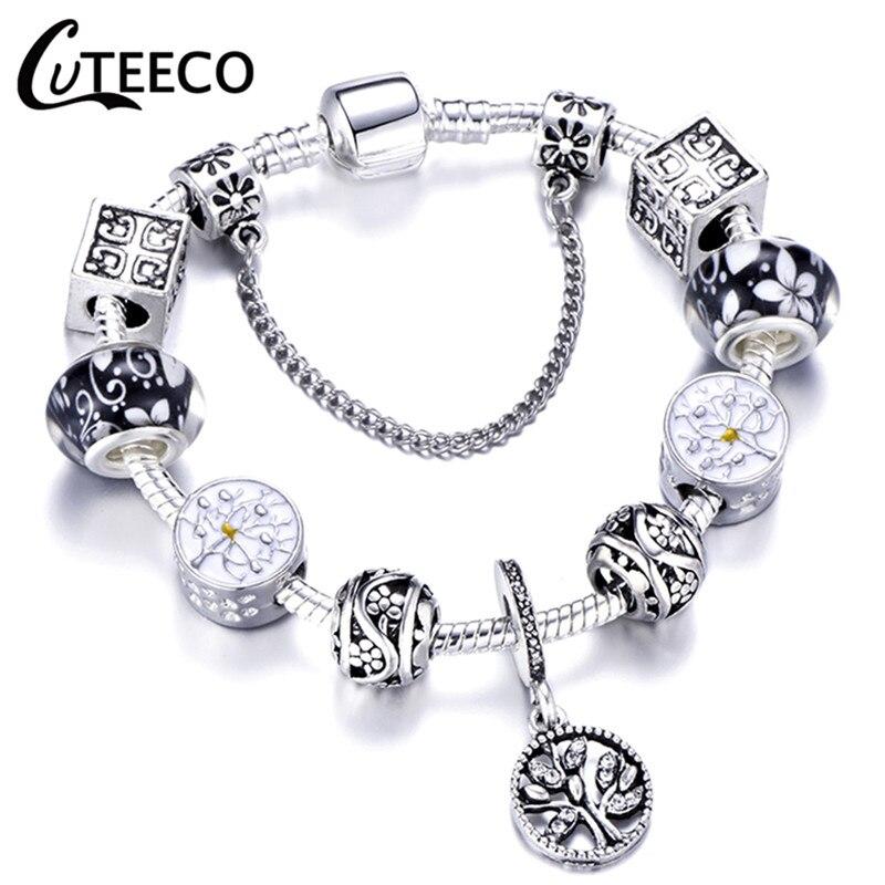CUTEECO 925, модный серебряный браслет с шармами, браслет для женщин, Хрустальный цветок, сказочный шарик, подходит для брендовых браслетов, ювелирные изделия, браслеты - Окраска металла: AE0241