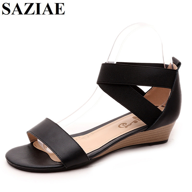 SAZIAE Genuine Leather Summer Sandals Woman Shoes Black