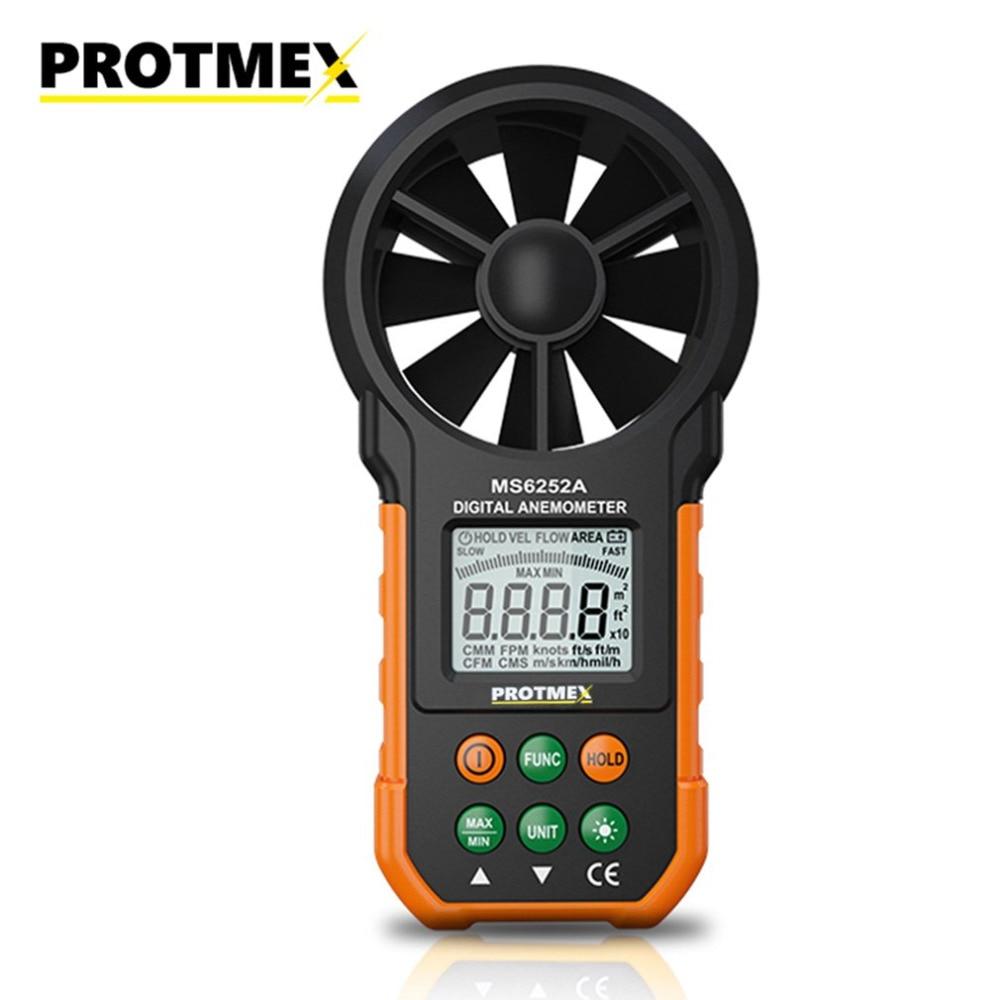 MS6252A Handheld Digital Anemometer LCD Backlight Air Wind Speed Velocity Meter Volume Flow Testing Measuring Meters Instrument
