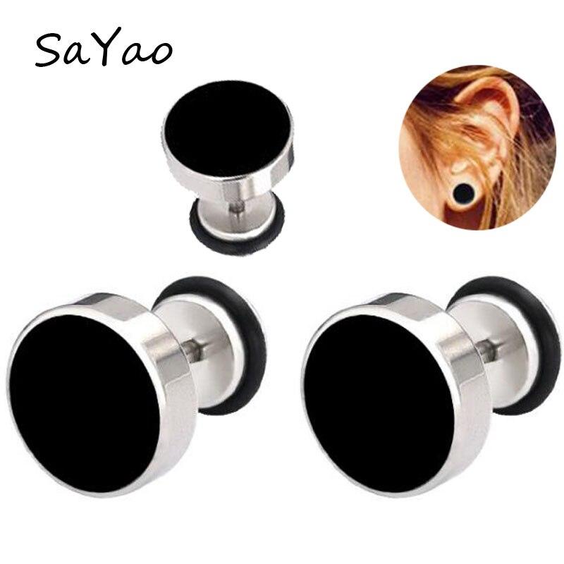 SaYao 2Piece Stainless Steel Fake Ear Plugs Oil Drip Round Barbell Earring Ear Expanders Earrings Body Jewelry Men Women body jewelry