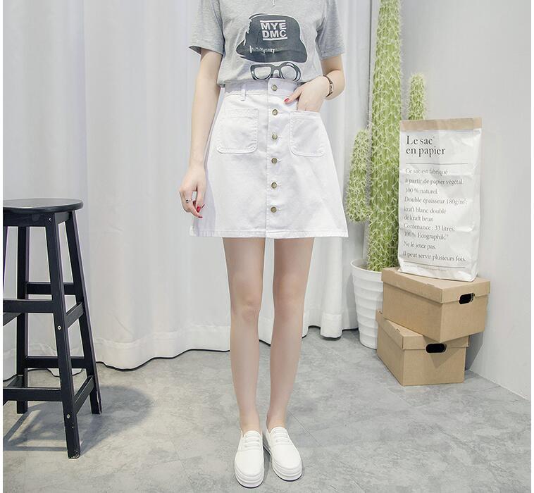 2020 neuer einfacher Sommer-bequemer hoher Taillen-Cowboydenimknopf - Damenbekleidung - Foto 2