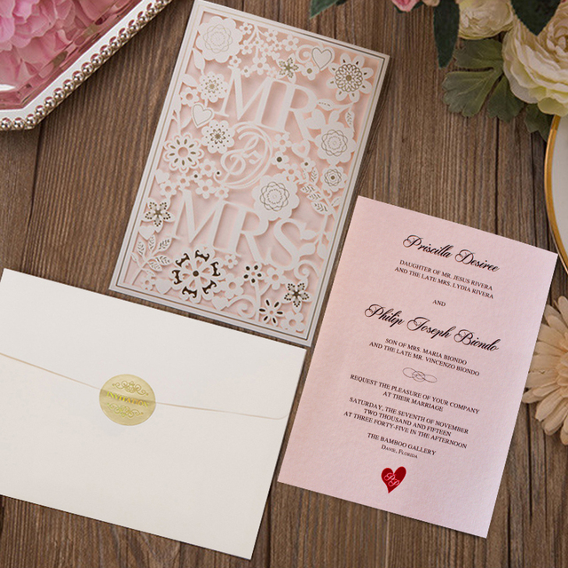 Mr And Mrs Laser Cut Wedding Invitations Customized Invitation Cards