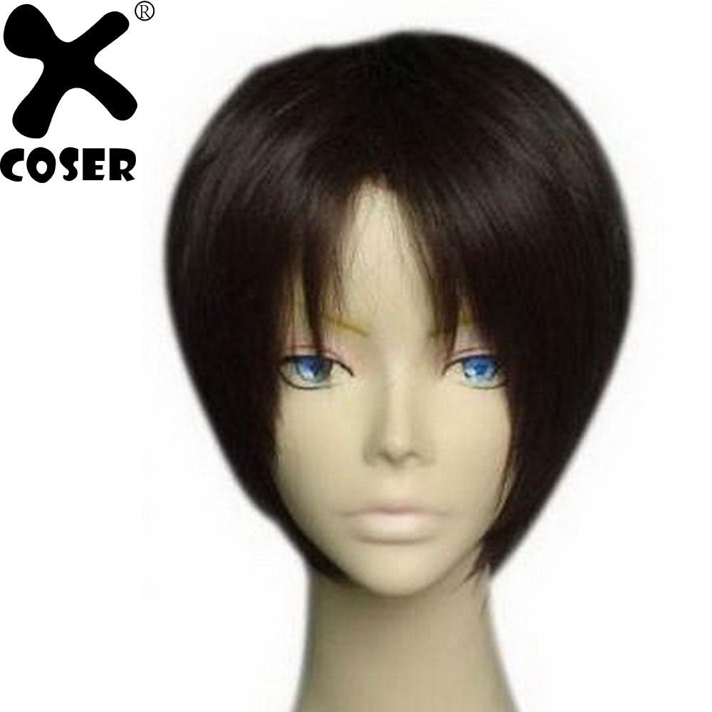 XCOSER Attack on Titan Eren Jaeger Short Dark Brown Cosplay Hair Accessories Stylish Halloween Cosplay Costume Props Headwear