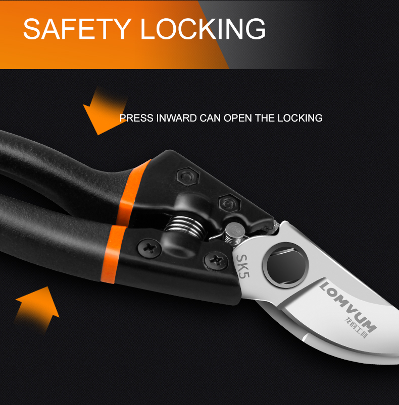 LOMVUM High Quality Gardening Scissors for Pruning of Branches shrubs and flowers with Safety 12