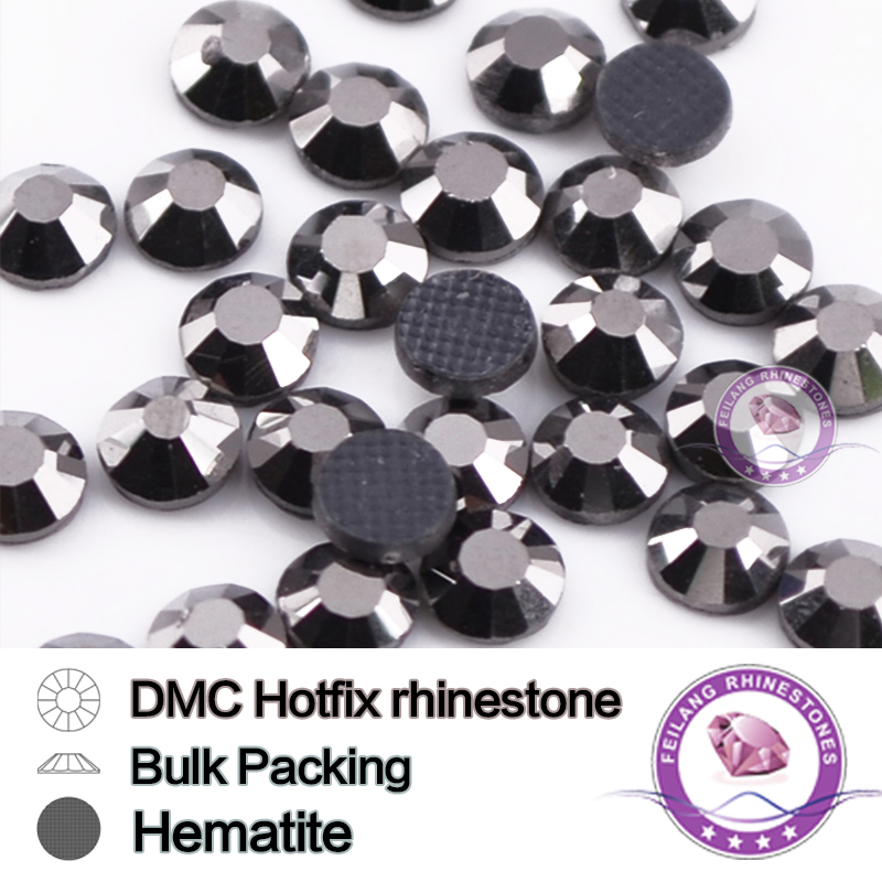SS6 SS10 SS16 SS20 SS30 Jet Hematite Bulking Packing HotFix Rhinestone For Garments Bags And Shoes Strass Sewing Accessories