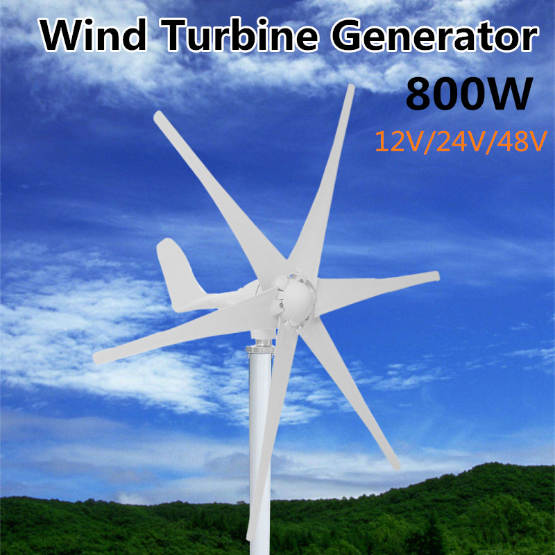 800W 12V 24 V 48 Volt 6 Nylon Fiber Blade Horizontal Home Wind Turbine Wind Generator Power Windmill Energy Turbine Charge
