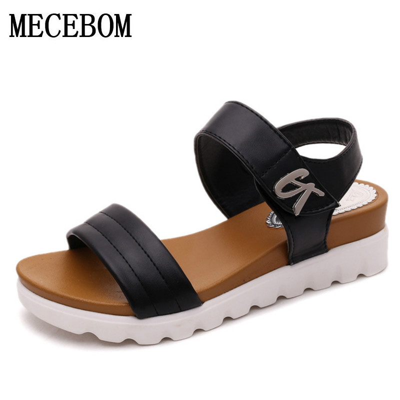Sandalias Mujer 2018 Summer Gladiator Sandals Women Aged Leather Flat Fashion Sandals ...