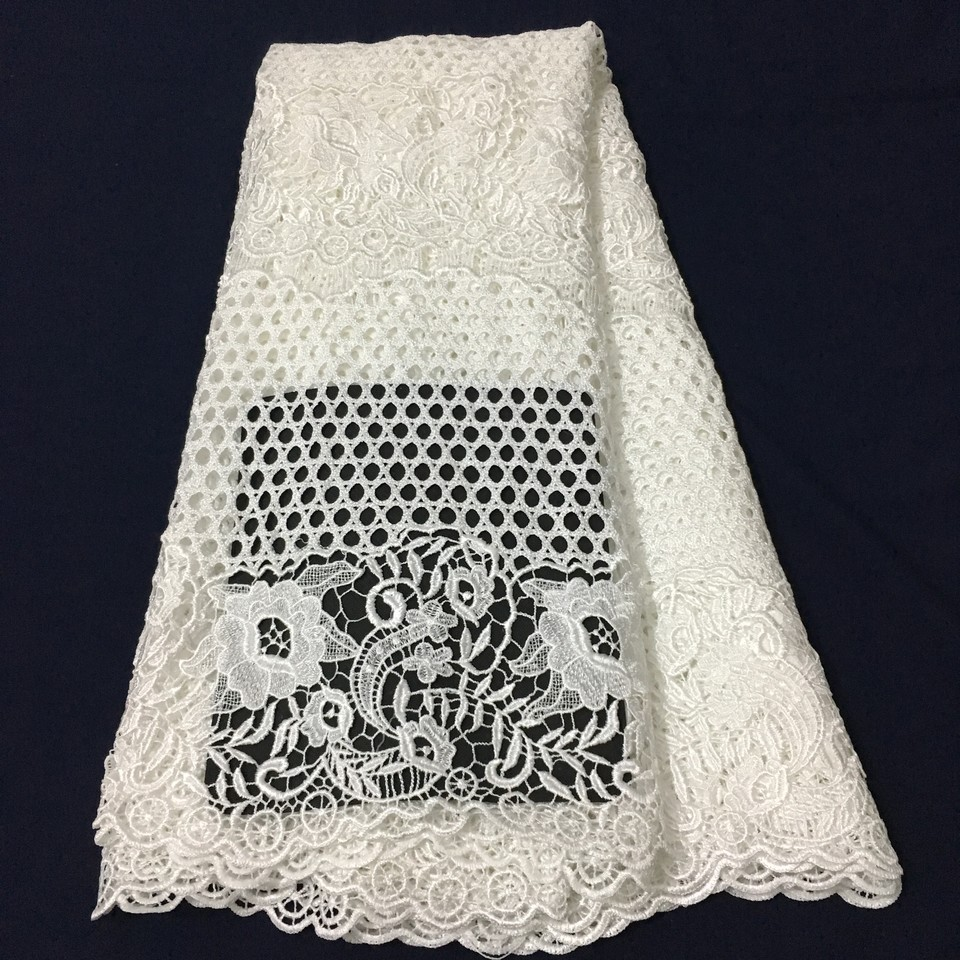 2019 latest african guipure lace white water soluble chemical lace fabric,high quality african cord lace K-W001