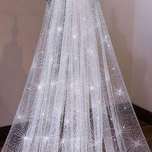One Layer Women White Trailing Long Wedding Veil Seashell Spray Glitter Rhinestone Cut Trim Luxury Starry Sky Bridal Veil