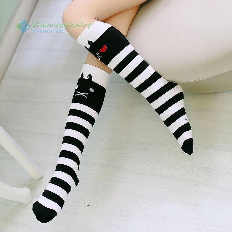 Cartoon Cat Design Children's Cotton Stripes Socks School High Knee Sock For Girls Child Princess Baby Kids Toddlers Leg Warmer