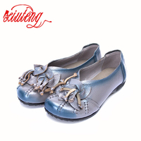 2016 Handmade Retro Flowers Women Shoes Flat Heel Leather Shoes National Wind Grain Leather Soft Soled