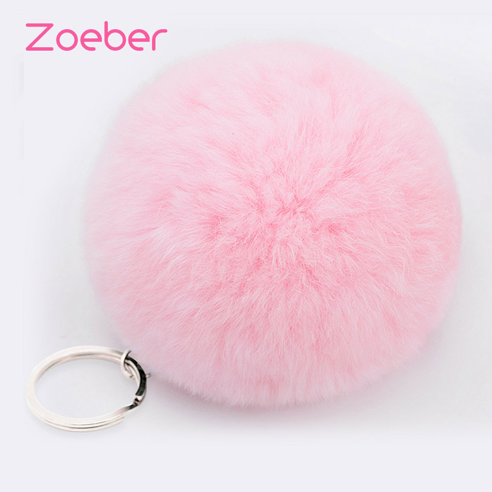 Zoeber Lovely Fluffy Rabbit Ear Fur Anime Ball Key Chain Rings Pendant Cute Pompom Artificial Rabbit Fur Keychain Women Car Bag