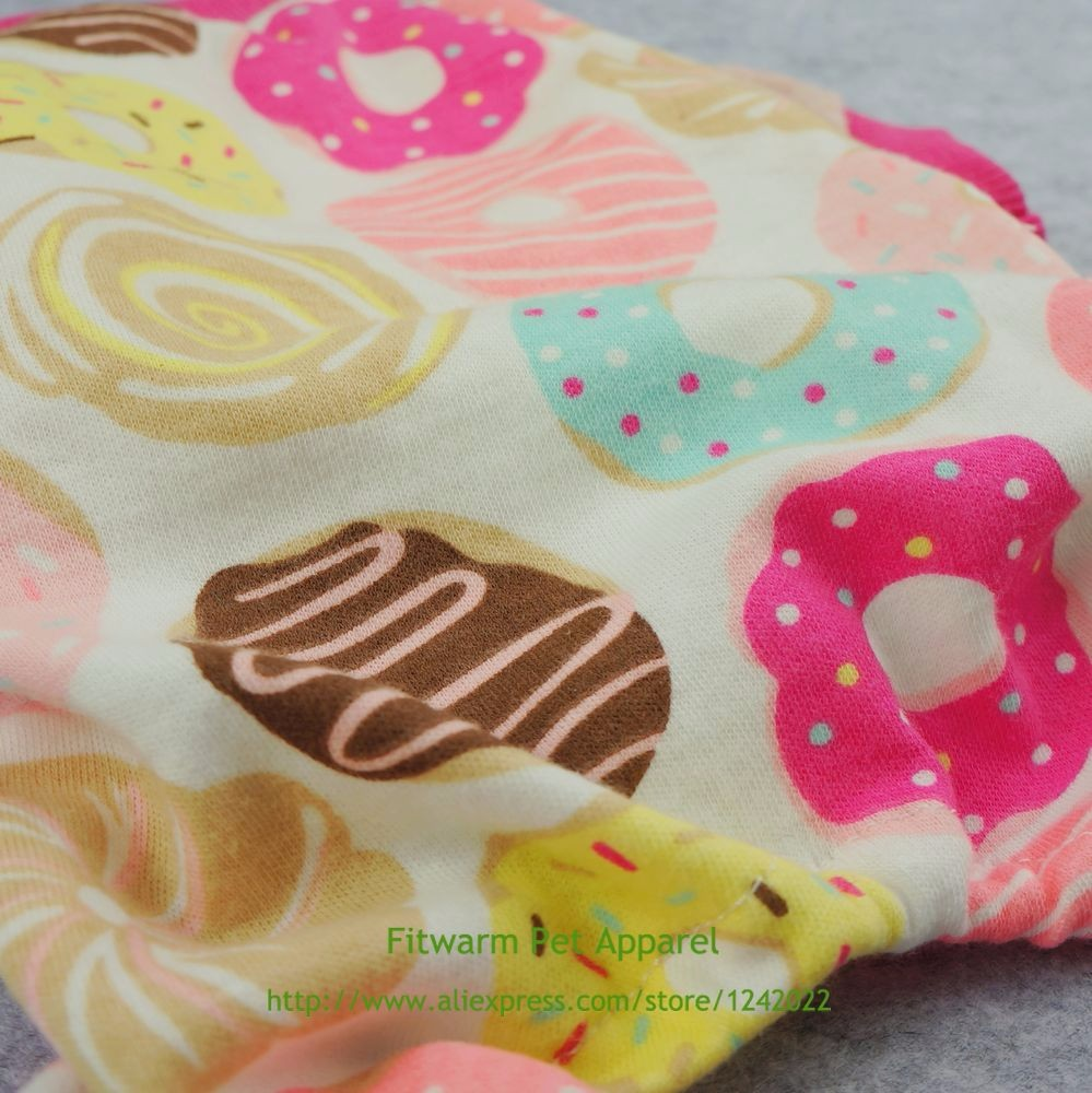 Fitwarm Sweetie Donuts Pet Clothes for Dog Pajamas Soft Cotton Shirts PJS Pink