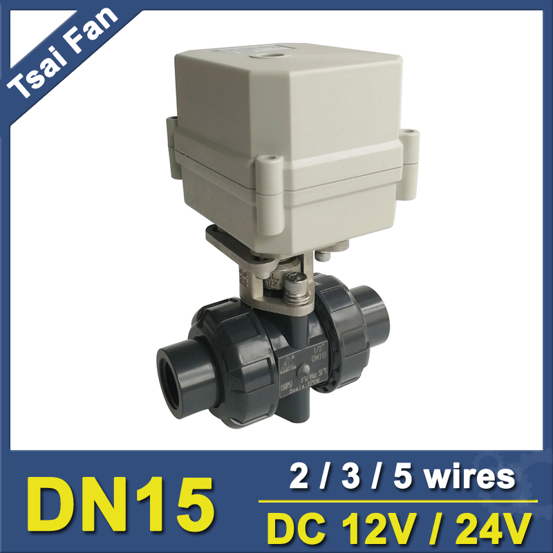 где купить 2 Way PVC DN15 Motorized Ball Valve BSP/NPT 1/2'' DC12V 2/3/5 Wires 10NM Electric Ball Valve On/Off 15 Sec Metal Gear CE по лучшей цене