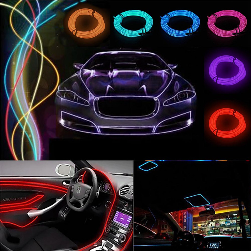 5M Flexible EL Neon Light Wire Rope Glow Tube Cable Strip Dance ...