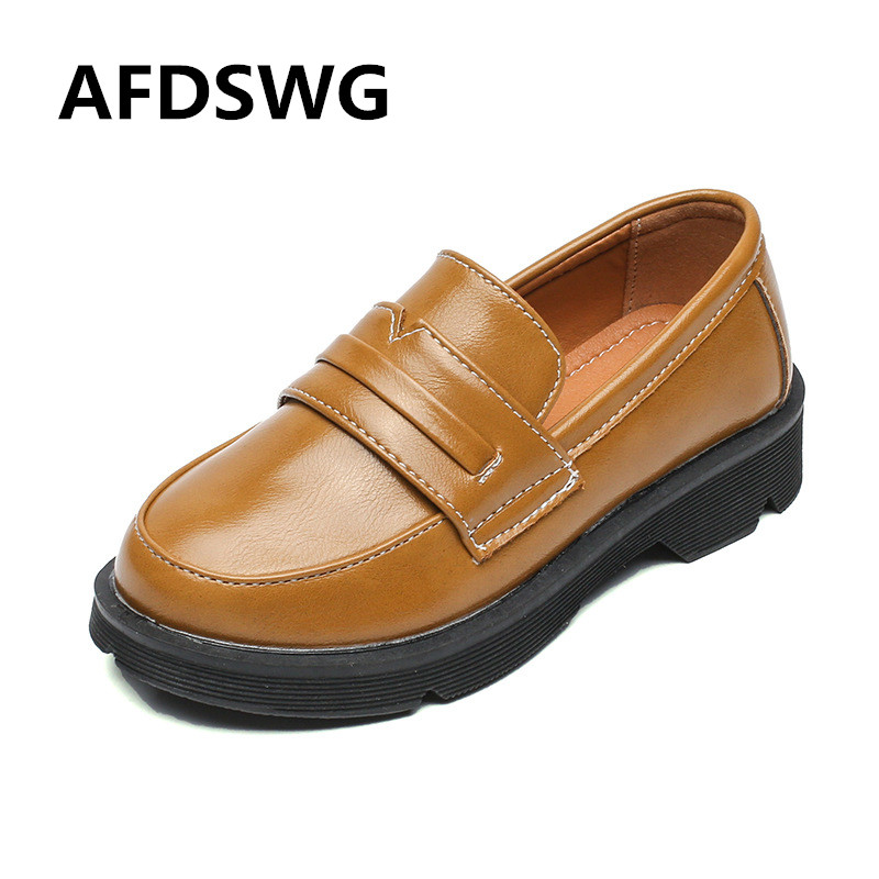 Spring and autumn brown artificial leather waterproof boys leather shoes black children leather shoes shoes girls party