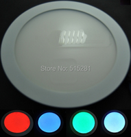RGB LED Panel Light 12V Round Ceiling Lamp with IR 24 keys RGB Controller+12V2A Adapter for Full Sets Downlight D225mm