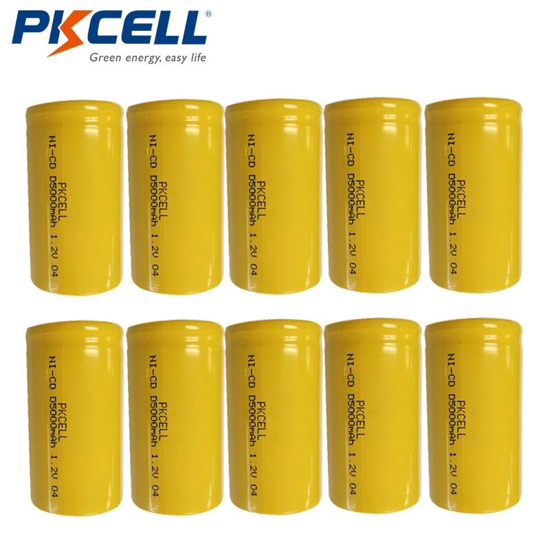 10pcs PKCELL 1.2V NiCd Rechargeable <font><b>Battery</b></font> D <font><b>size</b></font> Ni-Cd 1.2v nicd <font><b>batteries</b></font> High Capacity 5000mAh <font><b>Recargable</b></font> Bateria Flat Top