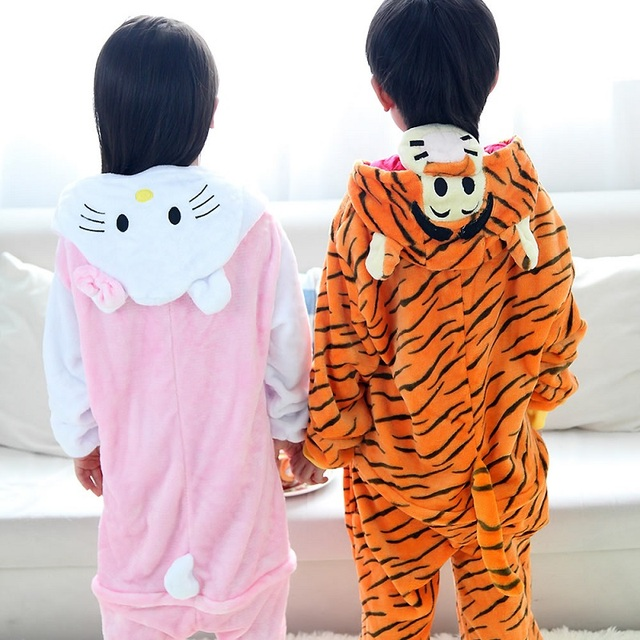 Flannel Cartoon Children's sleepwear Totoro pikachu Cat Panda Stitc kids baby girl pyjama animal girls unicorn pajamas onesies