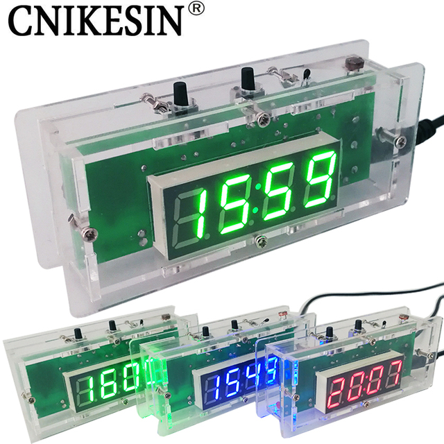 US $6 8 31% OFF|CNIKESIN DIY kit Digital clock Electronic clock C51  microcontroller LED digital temperature control diy clock 3colors  (optional)-in