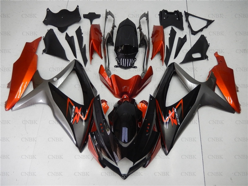 for GSXR750 2008 2010 K8 Body Kits GSXR 750 2009 Orange Silver Black Body Kits GSX