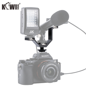 Image 4 - KIWI Triple Cold Shoe V Bracket Holder for Canon Nikon Sony Fujifilm Olympus Camera Microphone LED Light Flash Remote Receiver