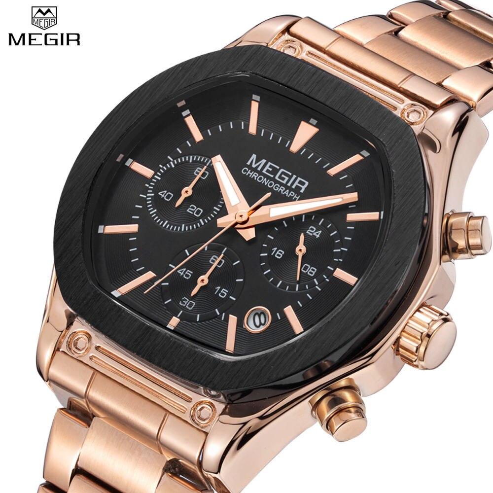 ФОТО 2016 New Arrival MEGIR Brand Stainless Steel Business Man's Watch Chronograph Men Analog 24 Hour 6 Hand Clock Army Sport Watches