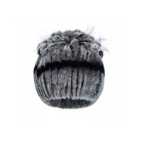 Harppihop Women Fur Caps Winter Knit Genuine Rex Rabbit Fur Skullies Silver Fox Fur Beanies Hats For Female Elastic Free size
