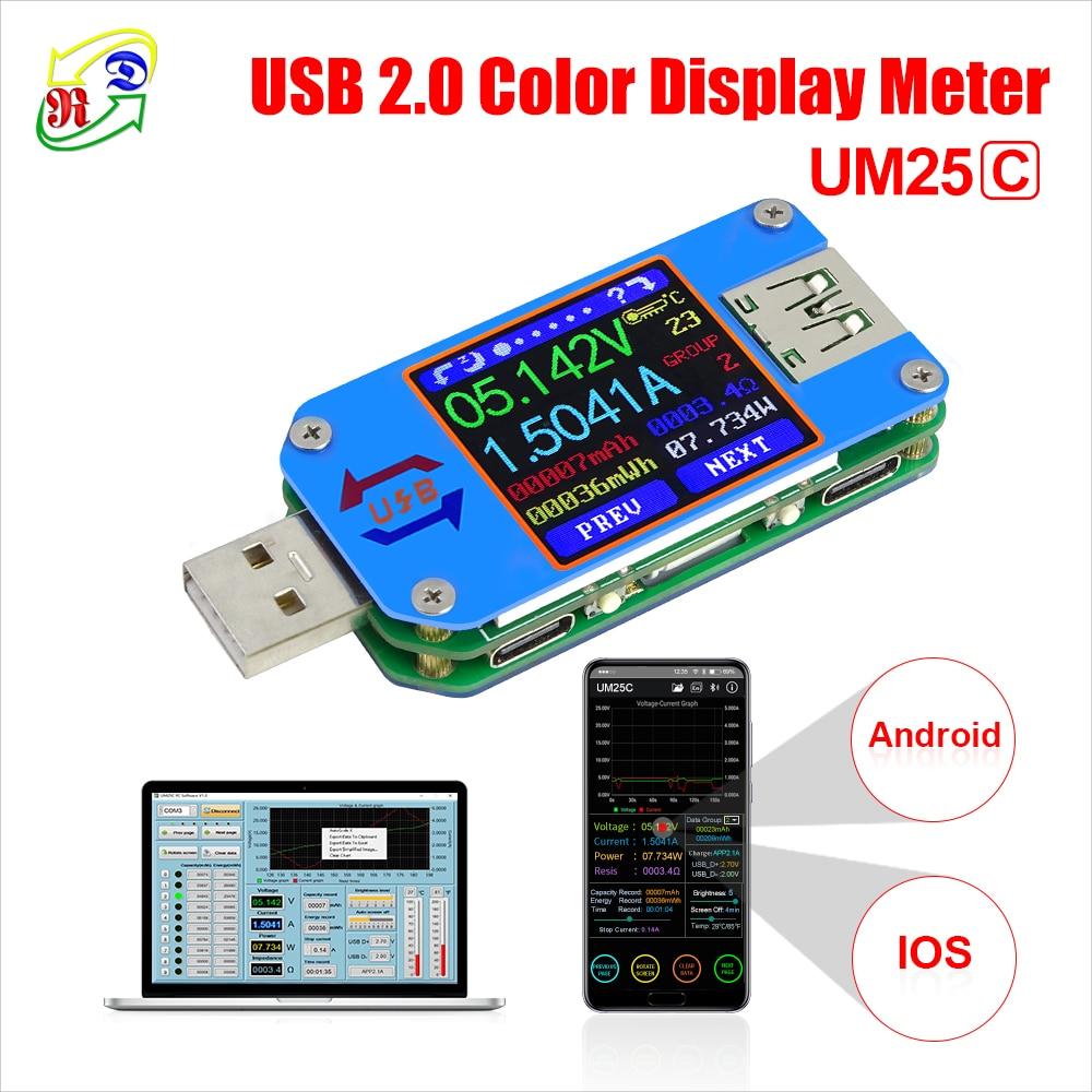 RD UM25C/ UM25 USB 2.0 Type- C Color LCD Tester Voltage Current Meter Voltmeter Ammeter Battery Charge Measure Cable Resistance