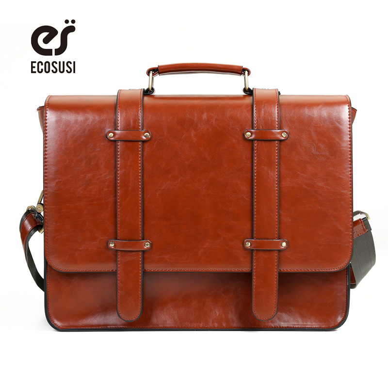 ECOSUSI New Women Messenger Bags PU Leather Handbag Vintage Crossbody Satchel Briefcase Bolsas Femininas Bags for 14.7 Laptop