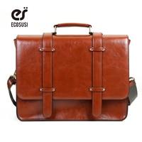 ECOSUSI New Women Messenger Bags PU Leather Handbag Vintage Crossbody Satchel Briefcase Bolsas Femininas Bags For
