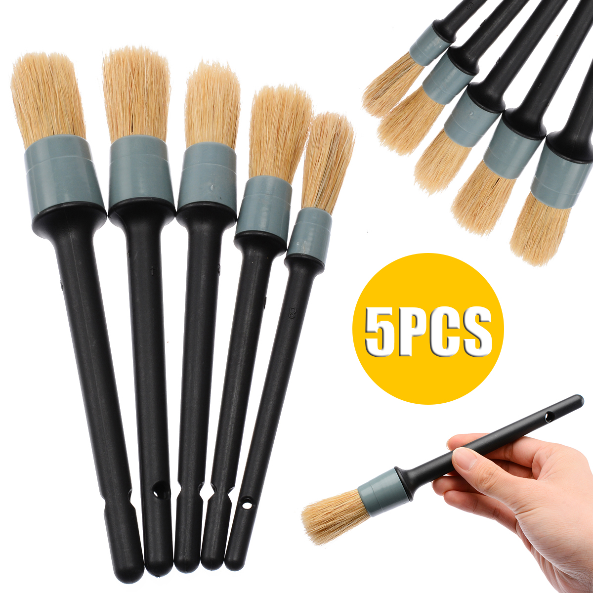 Practical 5pcs/set Car Detailing Brushes Natural Boar Hair Brushes Auto Detail Tools Universal For Car Wash Home Kitchen