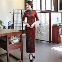 New Burgundy Traditional Chinese Women Dress Ladies' Satin Sexy Qipao Novelty Print Flower Long Cheongsam Plus Size M 4XL