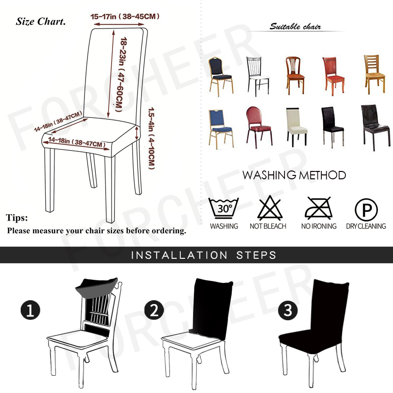 Chair Cover Spandex Dining Room Stretch Chair Slipcover Kitchen Seat Cover For Party Banquet Wedding Restaurant