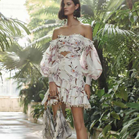 Runway Designer 2019 Spring New Floral Print Linen two piece Dress Vintage Boho Style Off shoulder Strapless Dress Vestidos