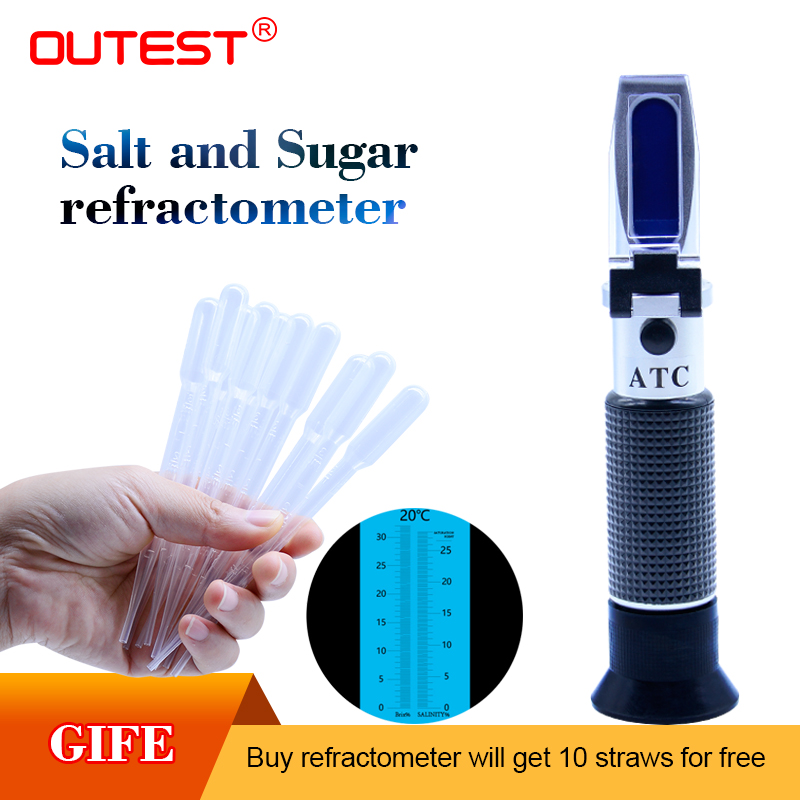 Portable Auto Refractometer 2 in 1 food salinity and sugar Refractometer,salinity measure range 0-28%,sugar measure range 0-32% portable antifreeze refractometer
