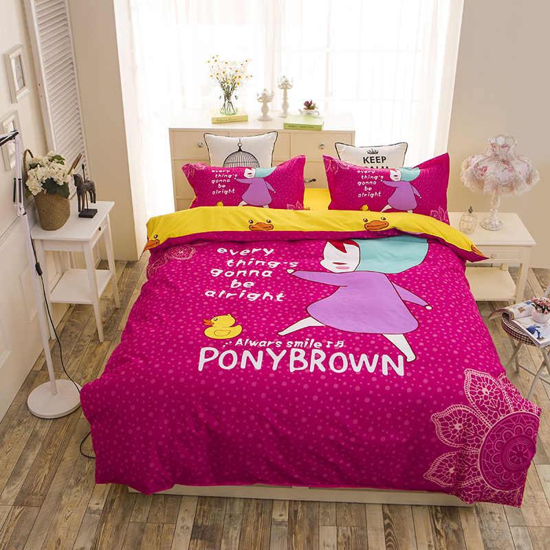 2016 модные пони Детский Комплект постельного белья Королева Полный размер: пододеяльник, простынь, наволочки для подушек 3/4 шт. постельное белье