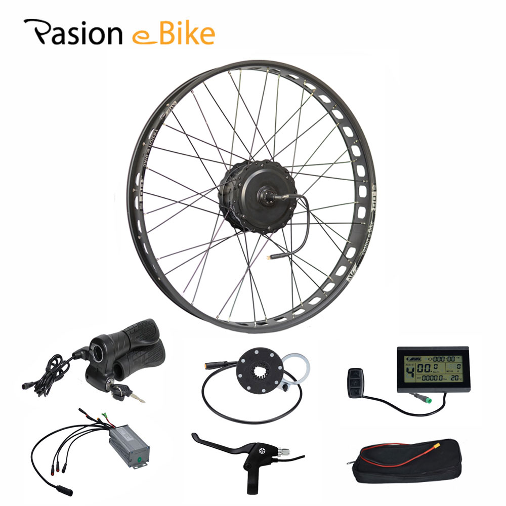 PASION E BIKE 48V 500W Electric Fat Bikes Bicycle Gear Hub Motor Conversion Kit BAFANG 190MM 26 Rear Wheel 80MM Rims pasion e bike 48v 1500w motor bicicleta electric bicycle ebike conversion kits for 20 24 26 700c 28 29 rear wheel