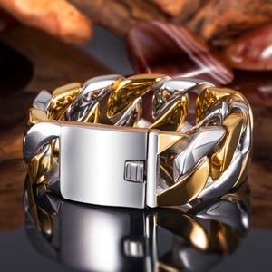 Image 2 - TrustyLan 23MM Wide Thick Chain Solid Golden Stainless Steel Men Bracelet Biker Jewelry Friendship Mens Bracelets & Bangles 2018