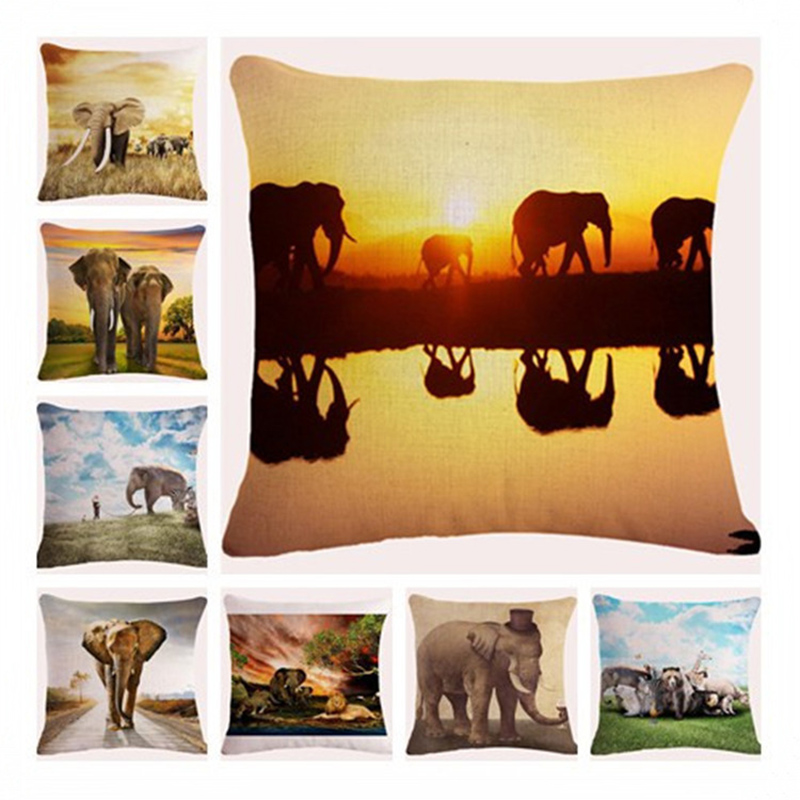 Square Pillowcase African Elephant Cushion Cover Pillowcase For Sofa Home Decor F