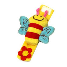 1Pc Lovely Color Three-dimensional Soft Animal Plush Wrist Rattles Cartoon Bee Sheep Baby NewbornHands Band Toys(China)