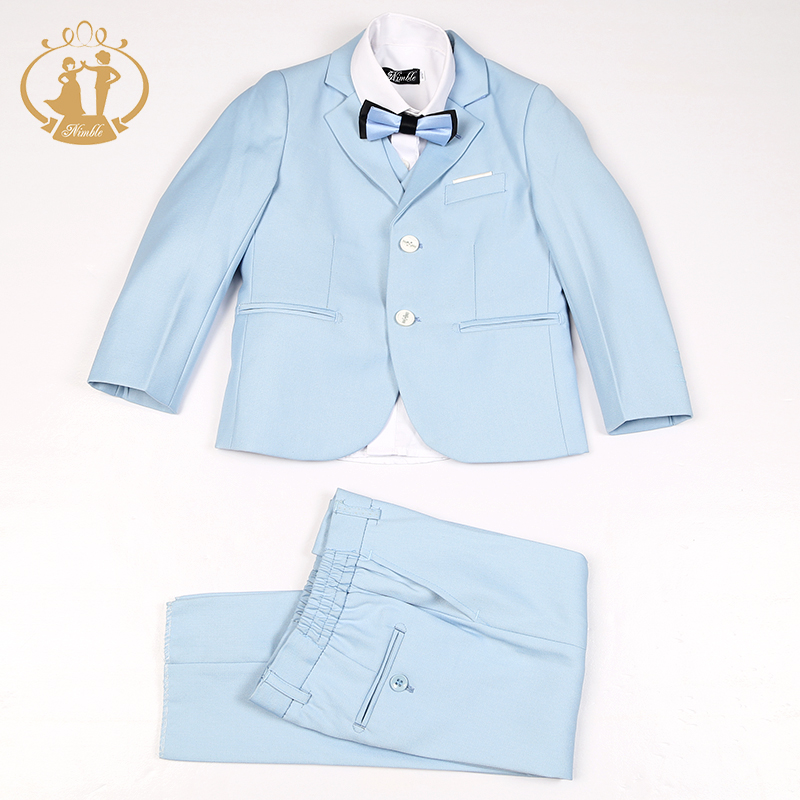 Nimble Boys Formal Suit Single Breasted Solid New School Sky Blue Kids Wedding Suit Jogging Garcon