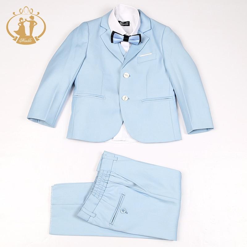 Ágil meninos terno formal único breasted sólida nova escola céu azul crianças terno de casamento jogging garcon terno terno menino garcon