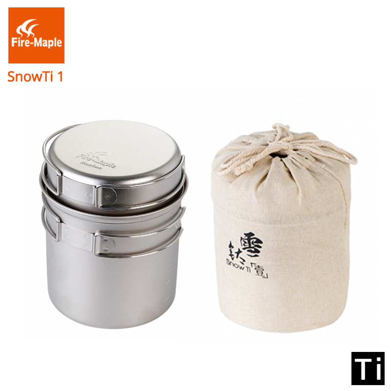 Fire Maple SnowTi 1 Portable Snow Titanium 0.65L Outdoor Camping Pot and 0.28L Frying Pan Ultra Light Camping Pots Set-in Outdoor Tablewares from Sports & Entertainment    1