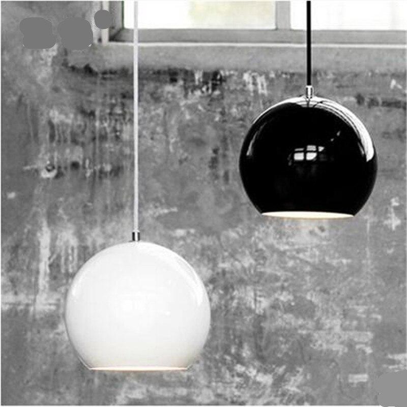 Novelty Modern Black/White Dia 20cm Aluminum Ball Led E27 Pendant Light for bedroom Bedside Dining Room AC 80-265V 1593 цена