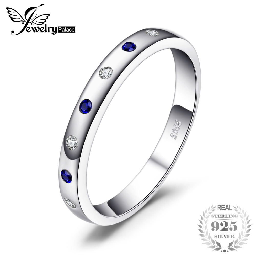JewelryPalace  2019 Fashion Rings For Women/Girls 0.23ct Created Sapphire Wedding Bands 925 Sterling Silver ladies Fine JewelryJewelryPalace  2019 Fashion Rings For Women/Girls 0.23ct Created Sapphire Wedding Bands 925 Sterling Silver ladies Fine Jewelry