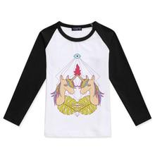 Hot Sale Boy Tshirts For Children Cotton O-Neck Fashion Tees Girl Raglan Long Sleeve Top Boys T-Shirt Unicorn Print Kids Tshirt raglan sleeve botanical peplum top